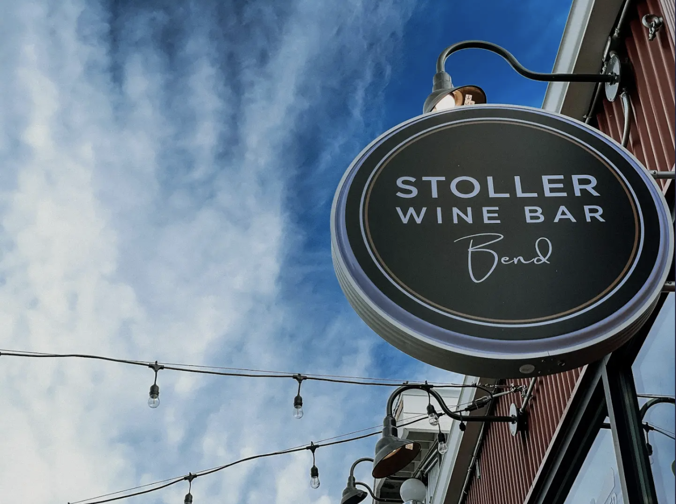 Stoller Wine Bar signage outside new location at Box Factory in Bend