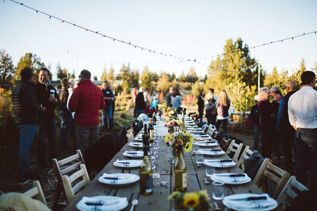 Rainshadow Organics long table farm to table dinner brunch