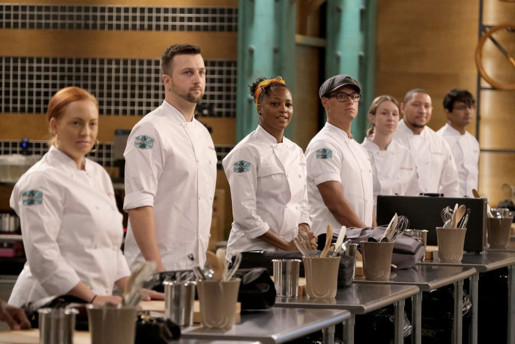 Top Chef Portland competitors line up to be judged