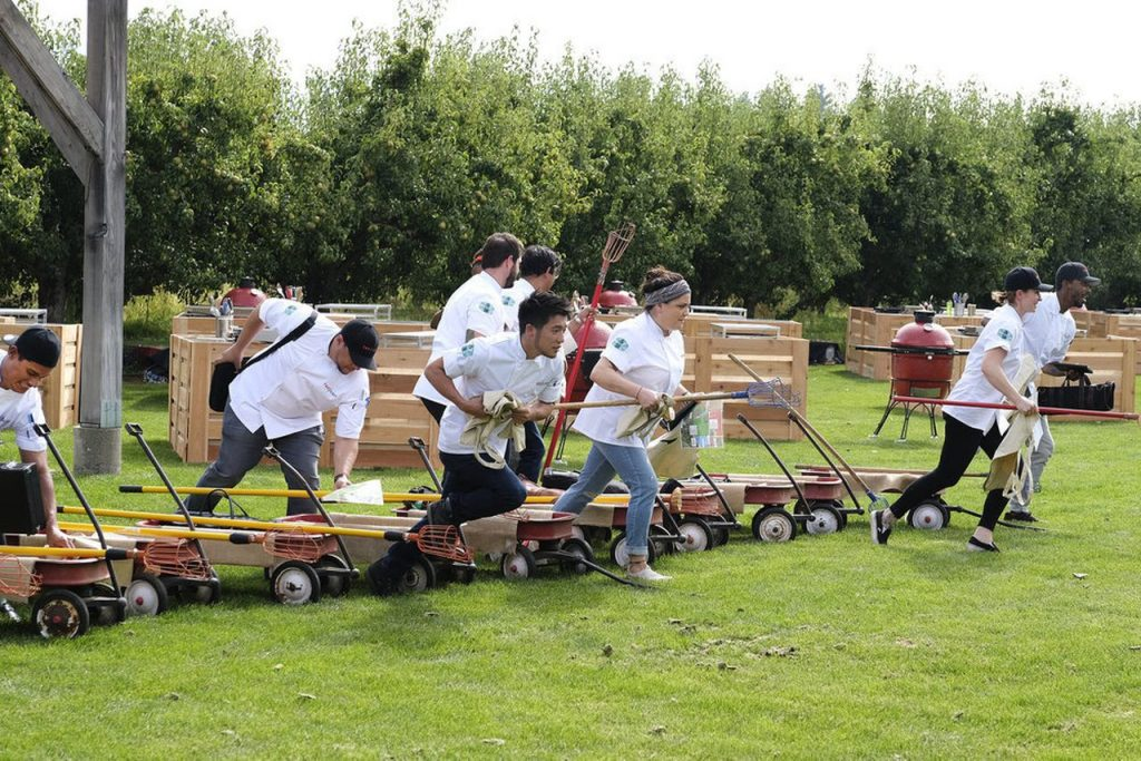 Top Chef competitors race through the fruit loop in hood river before picking fresh fruit for their cooking challenge