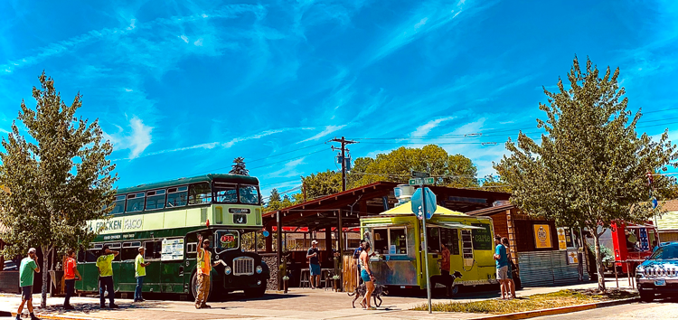 The Lot in Bend Oregon food carts with blue skies